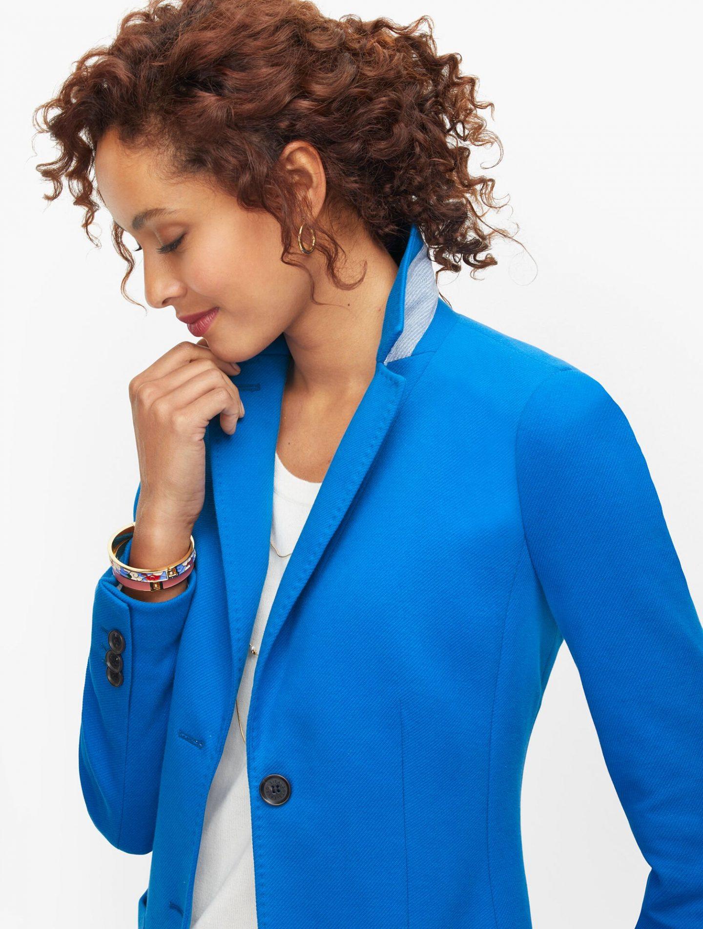 Talbots Breton Blue Blazer dress for zoom meetings